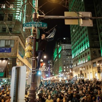 Philly Fans, Some Unruly, Celebrate Their Eagles Win